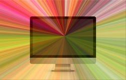 Vista dianteira de um computador de secretária com cores do arco-íris ilustração stock