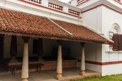 Vista dianteira de uma casa antiga de Tamil Nadu do brahmin, Chennai, Índia, o 25 de fevereiro de 2017 Fotografia de Stock