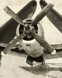 Vista dianteira do avião clássico imagens de stock