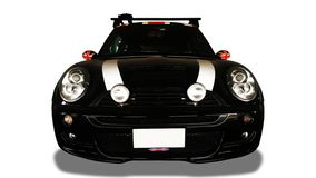 Vista dianteira do carro preto no fundo branco foto de stock