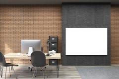 Vista dianteira do cartaz horizontal na parede preta no estudo do CEO ilustração royalty free