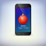 Vista dianteira do telefone do Natal Ano novo Fotografia de Stock