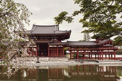 Vista dianteira do templo de Byodoin através de uma lagoa imagem de stock