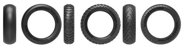 Vista dianteira e lateral da competência, da estrada e de fora de estrada, pneus da motocicleta rendição 3d Fotos de Stock Royalty Free