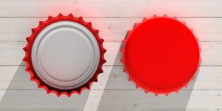 A vista dianteira e traseira da cerveja vermelha tampa, no fundo de madeira, a vista superior ilustração 3D Fotografia de Stock Royalty Free