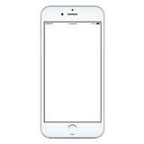 Vista diretamente dianteira do modelo esperto móvel branco do telefone foto de stock