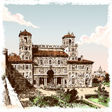 Vista disegnata a mano d'annata della villa Borghese a Roma Fotografie Stock