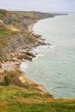 Vista distante de Audresselles con la costa del acantilado Imagen de archivo libre de regalías