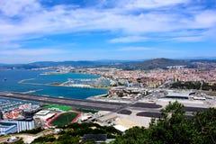 Vista do aeroporto internacional de Gibraltar Fotos de Stock Royalty Free
