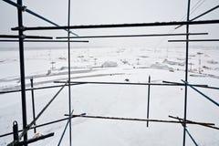 Vista do airdrome coberto de neve Imagem de Stock