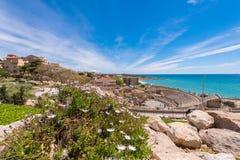 Vista do anfiteatro romano antigo de Tarragona, Catalunya, Espanha Copie o espaço para o texto foto de stock royalty free