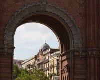 A vista do Arco de Triomf de Barcelona Fotografia de Stock Royalty Free