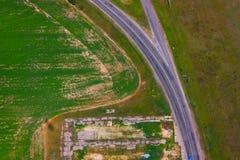 Vista do avião em campos Fotografia de Stock