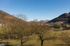Vista do balcão do vale suíço fotografia de stock