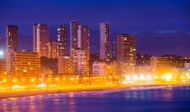 Vista do beira-mar de Benidorm na noite imagem de stock royalty free
