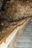 A vista do borra cava com grupo de viajantes não identificados no vale de Araku, Visakhapatnam, Andhra Pradesh, o 4 de março de 2 Imagem de Stock