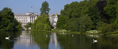 Vista do Buckingham Palace do parque de St James em Londres imagem de stock royalty free