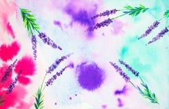 Vista do céu a partir de baixo através das flores da alfazema no campo Ilustração abstrata da aguarela ilustração royalty free