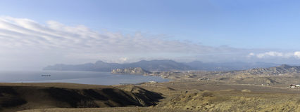 Vista do cabo Meganom (Crimeia, Ucrânia) Fotos de Stock