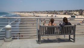 Vista do cais da praia de Newport foto de stock