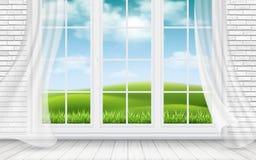 Vista do campo através da janela ilustração royalty free
