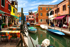 Vista do canal em Burano Fotos de Stock Royalty Free