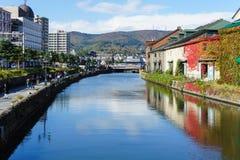 Vista do canal no outono, Japão de Otaru Fotos de Stock Royalty Free