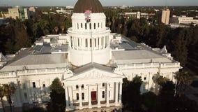 Vista do Capitólio do estado de Califórnia Sacramento EUA filme