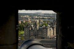 Vista do castelo de Edimburgo Panorama da cidade Imagens de Stock