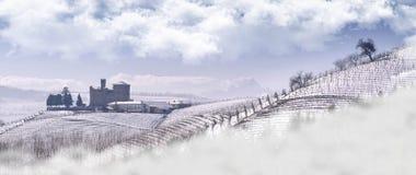 Vista do castelo de Grinzane Cavour no inverno com neve imagens de stock