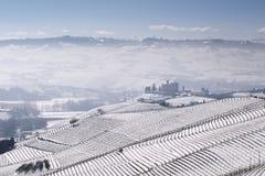 Vista do castelo de Grinzane Cavour no inverno com neve imagem de stock