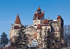 Vista do castelo do farelo no inverno imagem de stock
