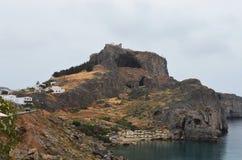 Vista do castelo na ilha grega do Rodes imagens de stock