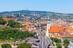 Vista do castelo velho em Bratislava, Eslováquia, Fotos de Stock Royalty Free