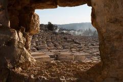 Vista do cemitério judaico do Monte das Oliveiras no Jerusalém, Israel imagens de stock royalty free