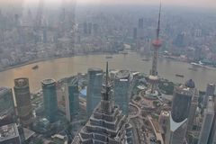 Vista do centro financeiro de mundo de Shanghai Fotografia de Stock Royalty Free