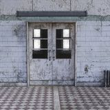 Vista do corredor em um hospital psiquiátrico com paredes gastos foto de stock royalty free