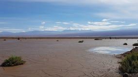 Vista do deserto de Atacama dominado pelo vulcão de Licancabur, o Chile fotografia de stock