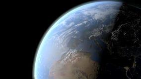 Vista do dia e noite da terra do planeta ilustração royalty free