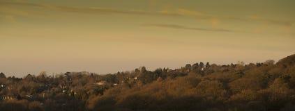 A vista do Disley e Manchester de Lyme estacionam, dia de inverno de Stockport Cheshire England Fotografia de Stock