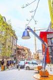 Vista do distrito central de Skopje, a capital macedônia Imagem de Stock