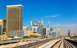 Vista do distrito de Jumeirah em Dubai foto de stock royalty free