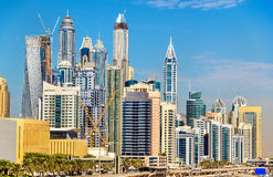 Vista do distrito de Jumeirah em Dubai fotos de stock