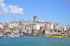 Vista do distrito do galata e do Galata Kulesi, Istambul, Turquia Fotografia de Stock
