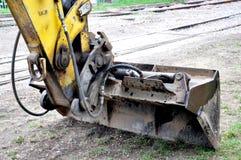 Vista do escavador da máquina escavadora imagens de stock