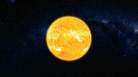 Vista do espaço na superfície de Sun com alargamentos solares Imagem de Stock Royalty Free