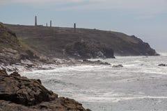 Vista do farol de Pendeen em Cornualha Inglaterra Reino Unido Imagens de Stock