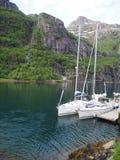 Vista do fiorde da pesca à corrica em Noruega Navigação do iate no mar azul Fjord norueguês Fotografia de Stock Royalty Free