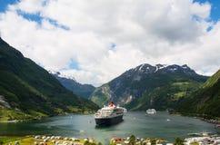 Vista do fiorde de Geiranger, Noruega Foto de Stock Royalty Free