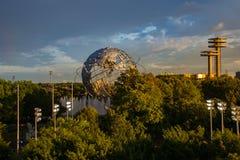 Vista do globo no parque da corona de Flushing Meadows no Queens New York Fotos de Stock
